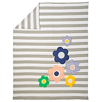 Grey Striped with Flowers Twin Duvet Cover