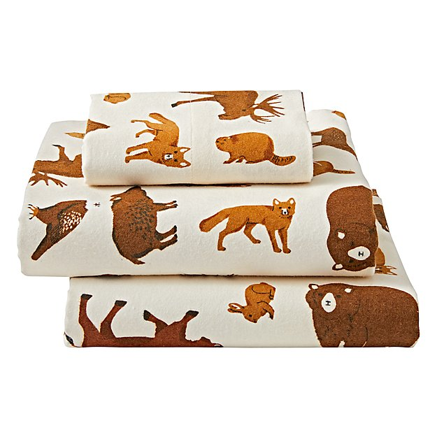Organic Animal Flannel Twin Sheet Set