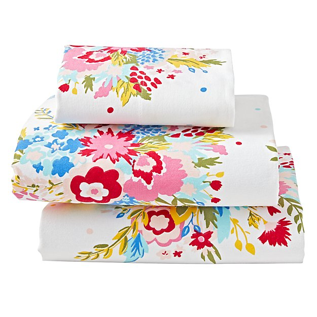 Floral Flannel Twin Sheet Set