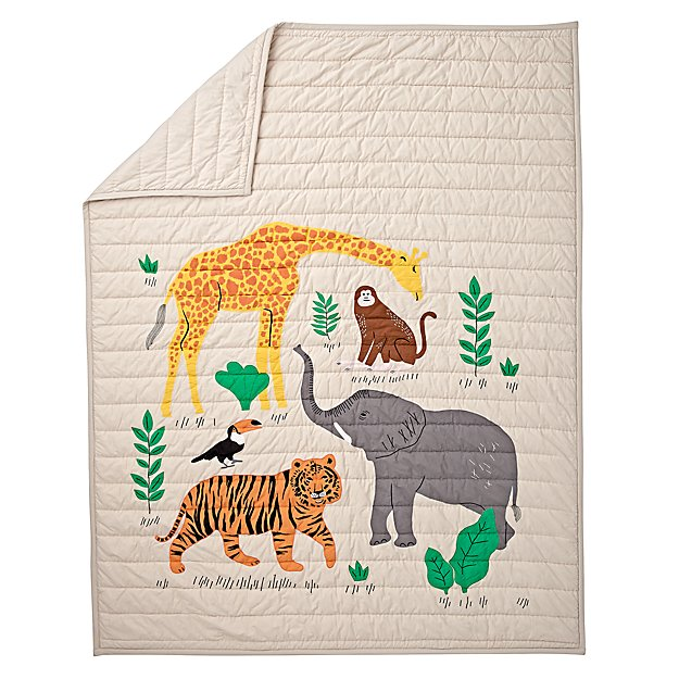 Applique Jungle Animal Twin Quilt