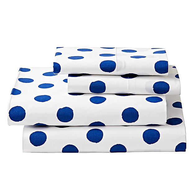 Organic Apple Orchard Blue Dot Queen Sheet Set