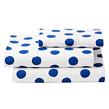 Organic Apple Orchard Blue Dot Twin Sheet Set