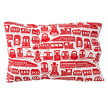 Organic All Aboard Red Train Pillowcase