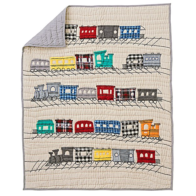 All Aboard Applique Train Twin Quilt