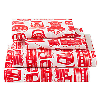 Organic All Aboard Red Train Full Sheet Set