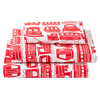 Organic All Aboard Red Train Twin Sheet Set