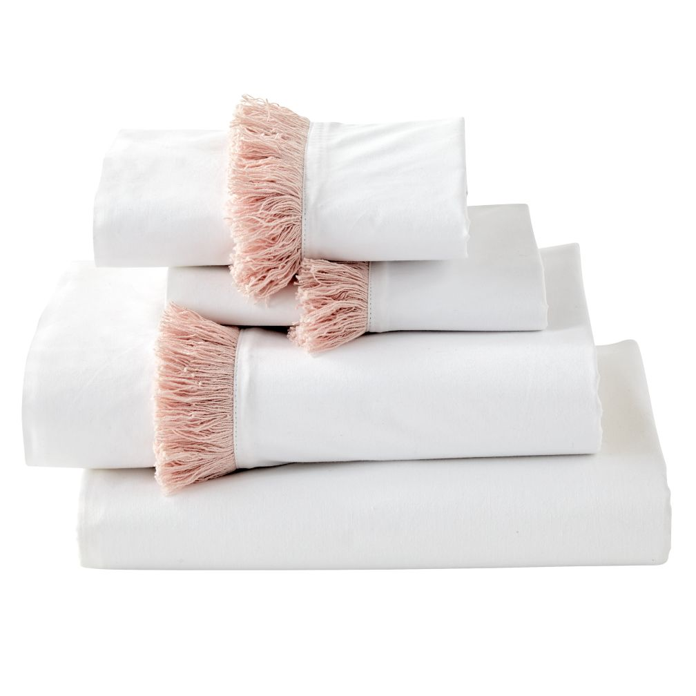 genevieve gorder organic pink tassel sheet set the land of nod