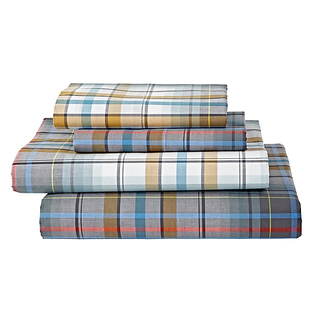 Plaid University Queen Sheet Set