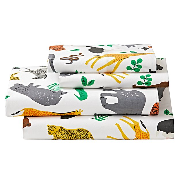 Organic Jungle Animal Queen Sheet Set
