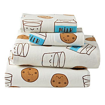 Organic Milk and Cookies Flannel Full Sheet Set