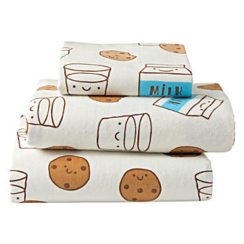 Organic Milk and Cookies Flannel Twin Sheet Set