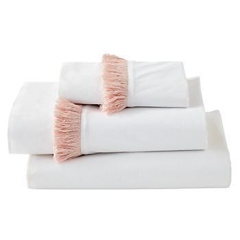 Genevieve Gorder Organic Pink Tassel Twin Sheet Set