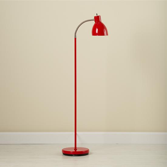 Adjustable Bright Idea Floor Lamp (Red) | The Land of Nod:Bright Idea Floor Lamp (Red). Lamp_Bright_Ideas_Re_V1_1011;  Lamp_Bright_Ideas_Re_V2_1011; JoyaRocker_GY_ALT_0312;  FlrBkBin_WH_READLetters_0813 ...,Lighting