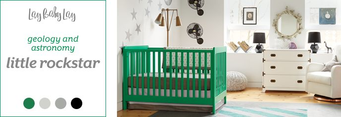 Our Little Rockstar nusery design incorporates modern nursery elements and pops of color to create a room for your baby that is science, with an edge.