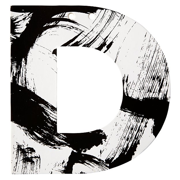 D Black and White Letter
