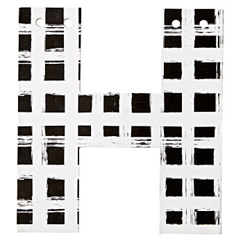 H Black and White Letter