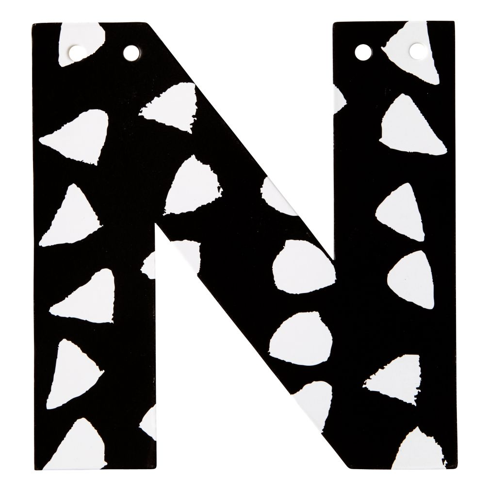 N Black and White Letter