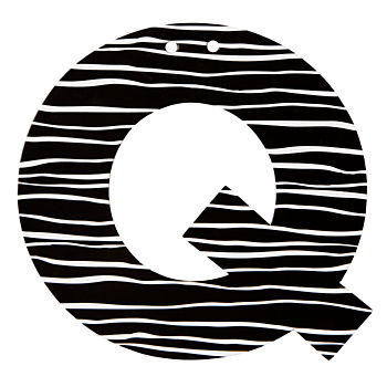 Q Black and White Letter
