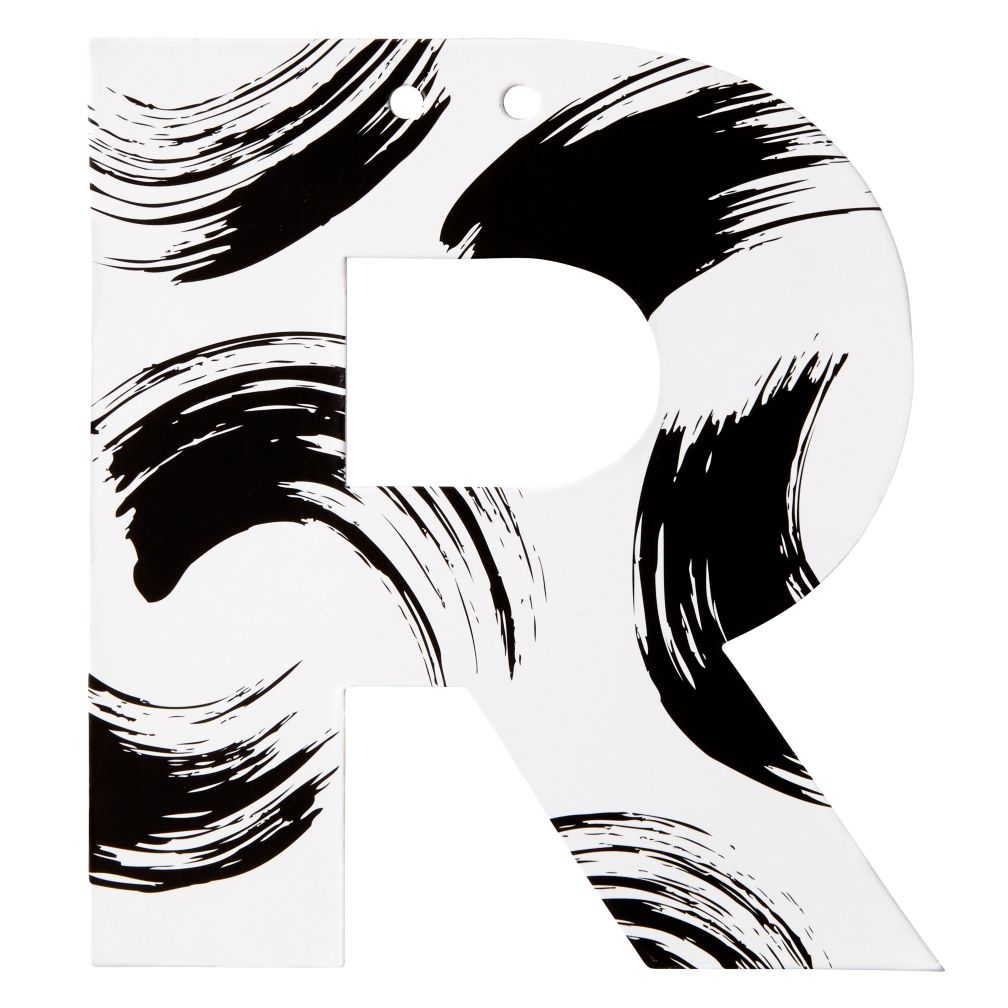 R Black and White Letter