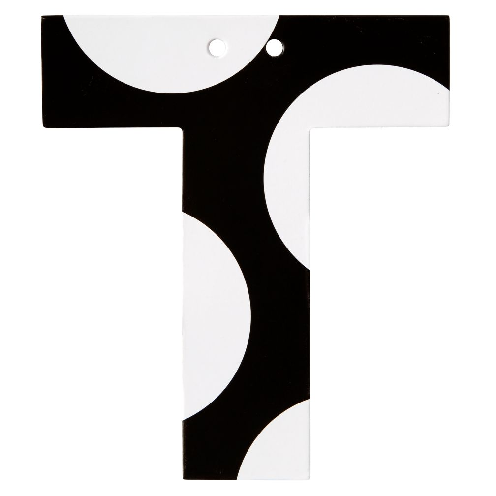T Black and White Letter