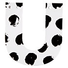 U Black and White Letter