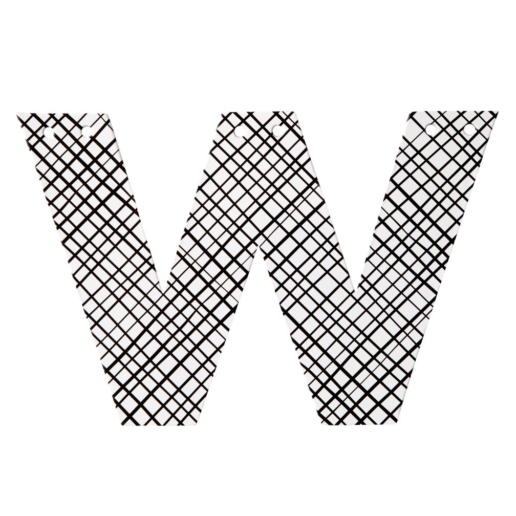 W Black and White Letter