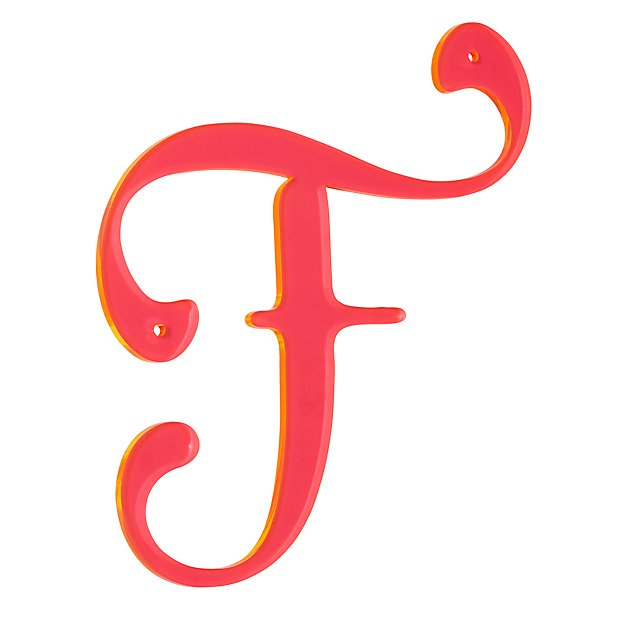 F neon calligraphy letter the land of nod