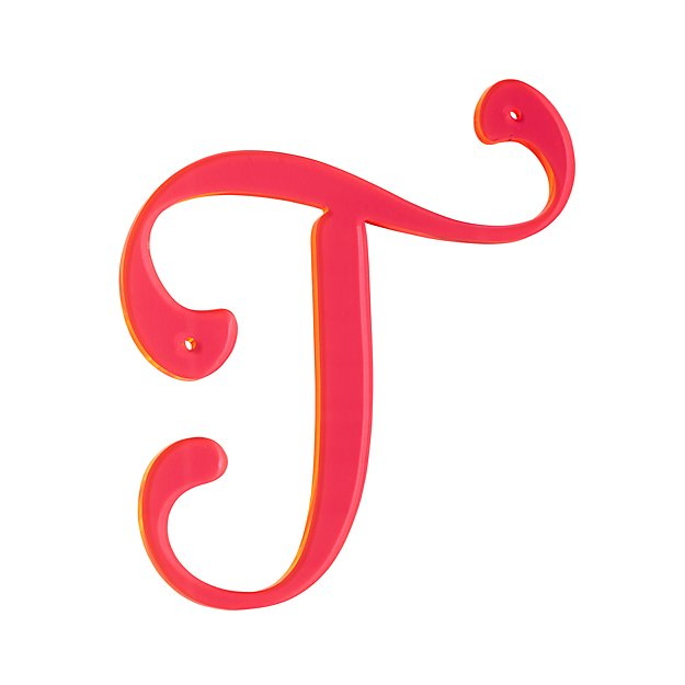 'T' Neon Calligraphy Letter   The Land of Nod
