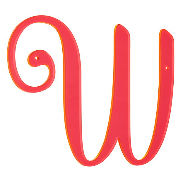 'W' Neon Calligraphy Letter