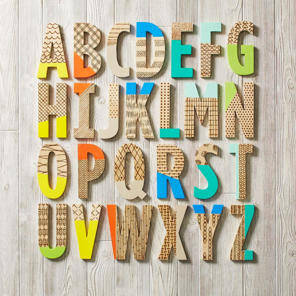 Wooden Wall Letters Decoration Ideas : Wood burn paint dipped wall letters the land of nod