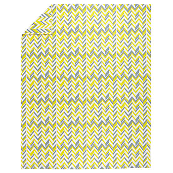 Full-Queen Little Prints Duvet Cover (Yellow Zig Zag)