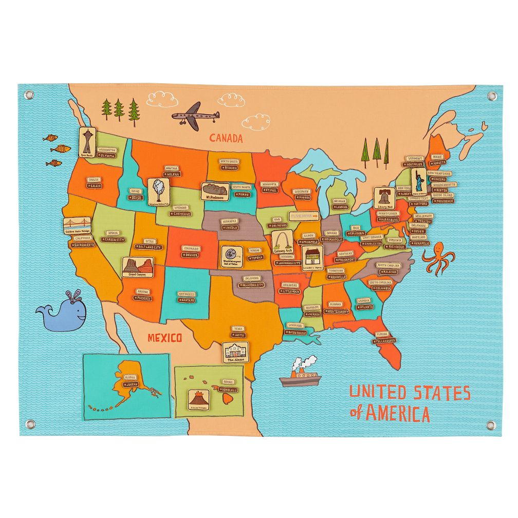 Road Trip Soft Wall Map The Land Of Nod - States map of the united states
