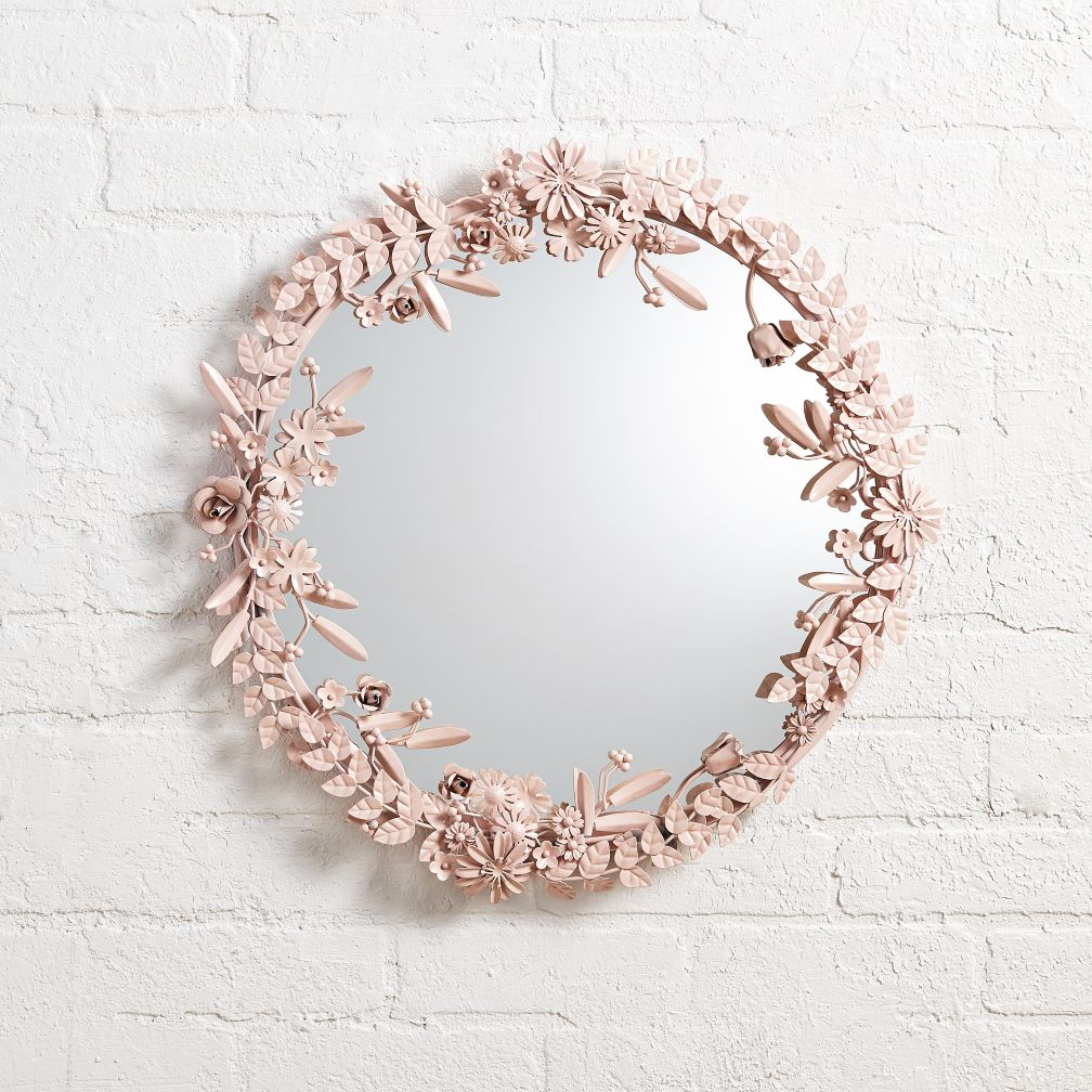 Kids decorative mirrors the land of nod flower crown wall mirror amipublicfo Choice Image