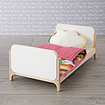 Mod Doll Bed with Rainbow Doll Bedding Set