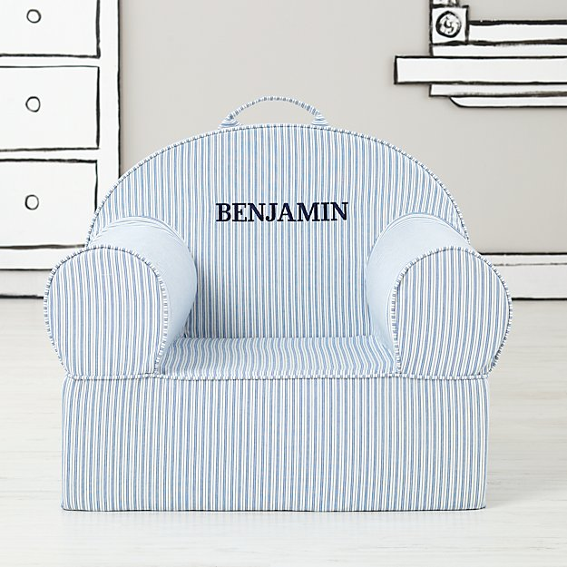 Large Personalized Blue Ticking Stripe Nod Chair Cover