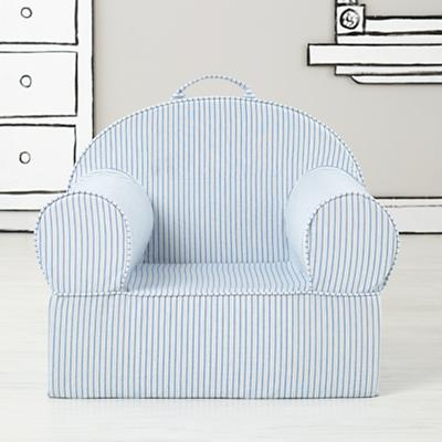 Large Blue Ticking Stripe Nod Chair