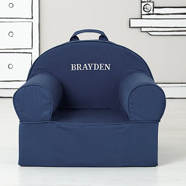 Large Personalized Dark Blue Nod Chair Cover