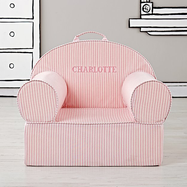 Large Personalized Pink Ticking Stripe Nod Chair