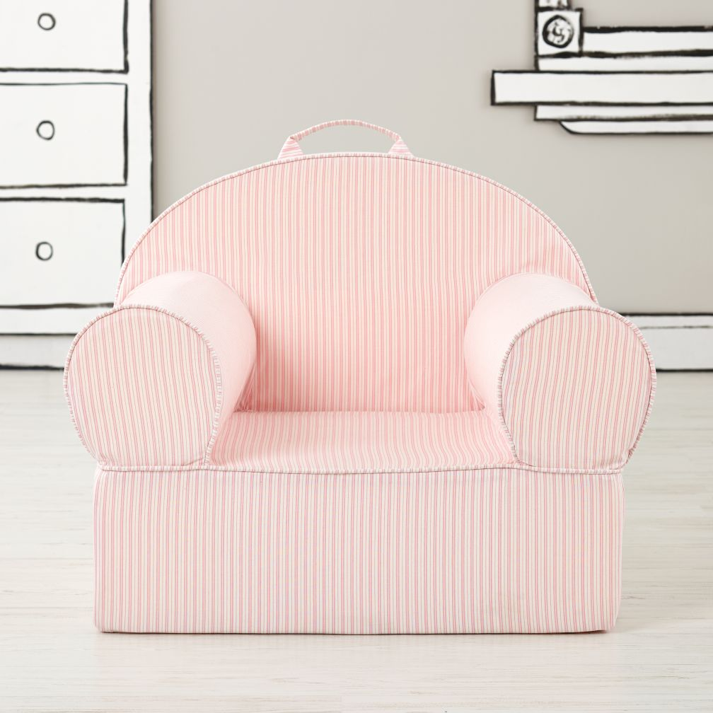 Large Pink Ticking Stripe Nod Chair
