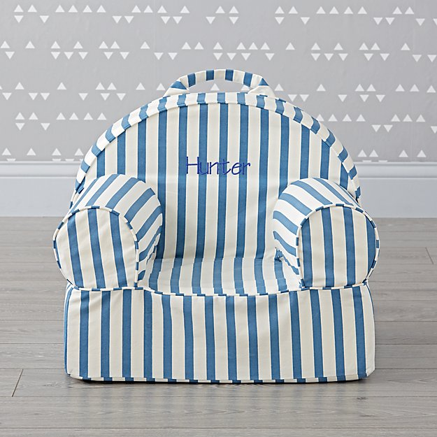 Small Personalized Dark Blue Stripe Nod Chair Cover