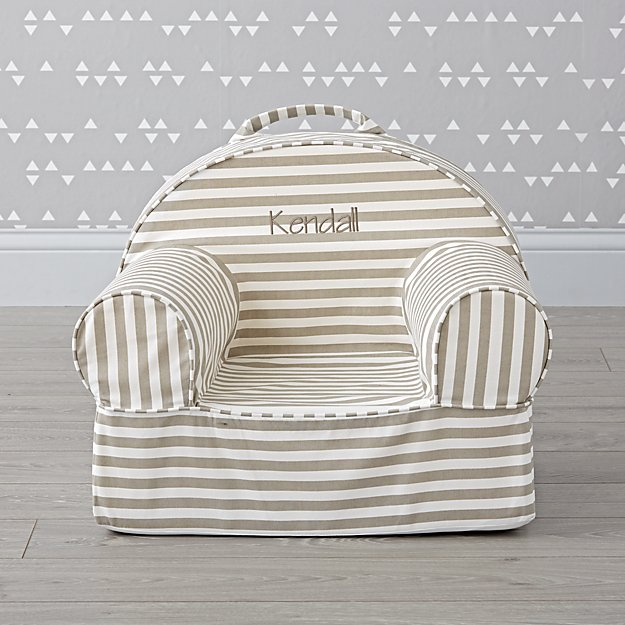 Small Personalized Grey Stripe Nod Chair