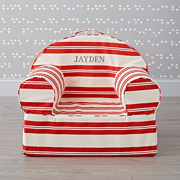 Large Personalized Red Stripe Nod Chair
