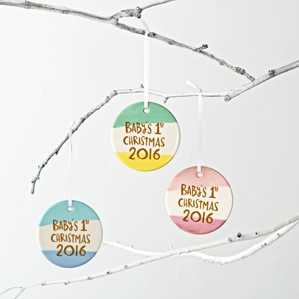 Tri-Color Baby's First Christmas Ornament