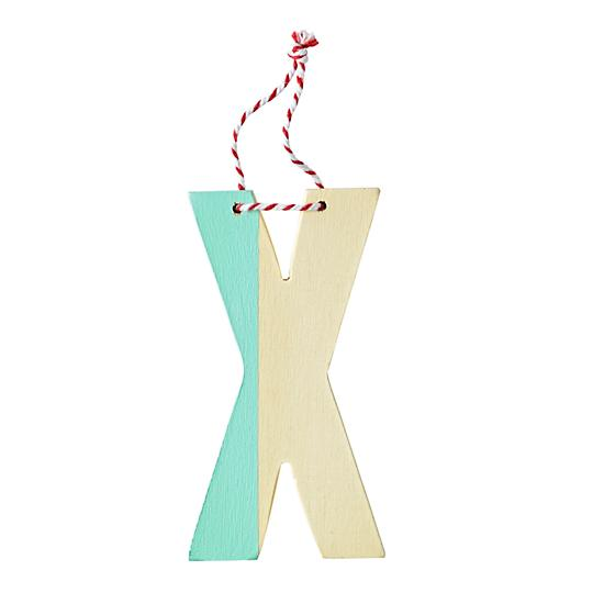 x color dipped letter ornament
