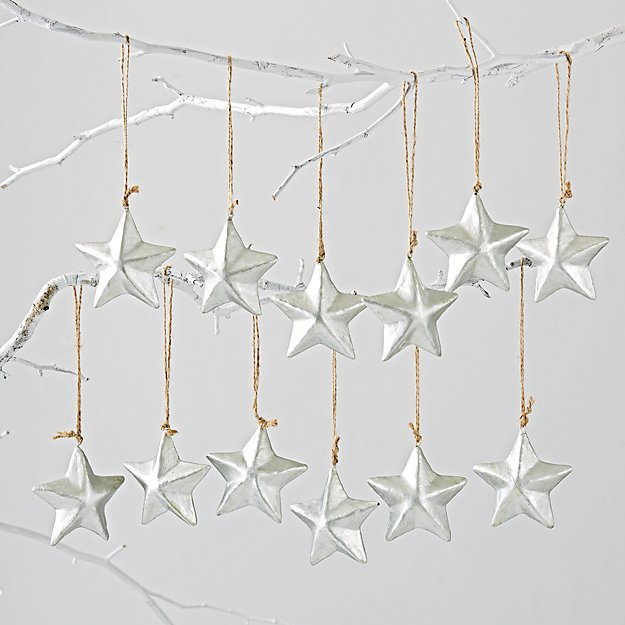 Silver Star Ornaments (Set of 12)
