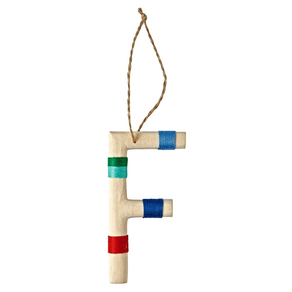 Wooden Letter F Ornament
