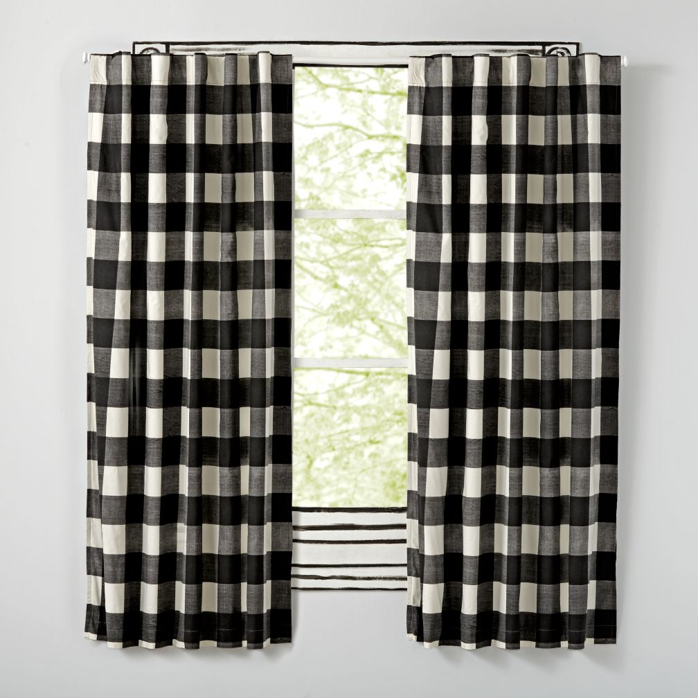 "Buffalo Check Black 96"" Blackout Curtain"