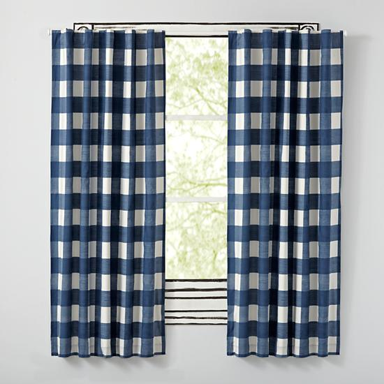 Blue Buffalo Check Curtain | The Land of Nod