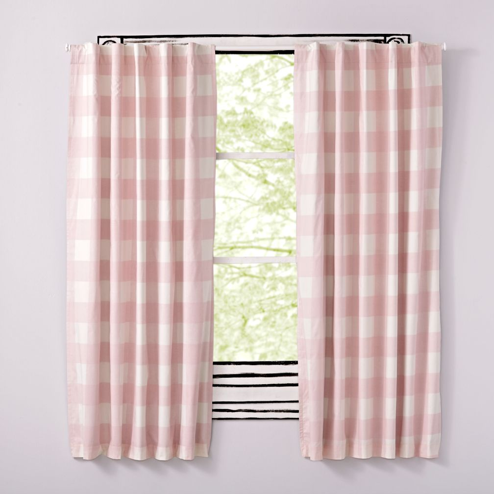 Image result for land of nod pink gingham blackout shades