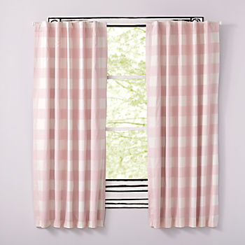 "Buffalo Check Pink 96"" Blackout Curtain"